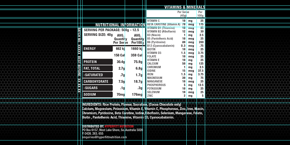 Performaxx Nutrition Label Nutrition Details