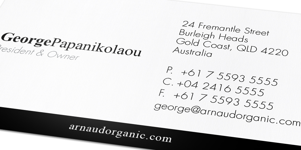 Arnaud Organic Business Card Back Detail