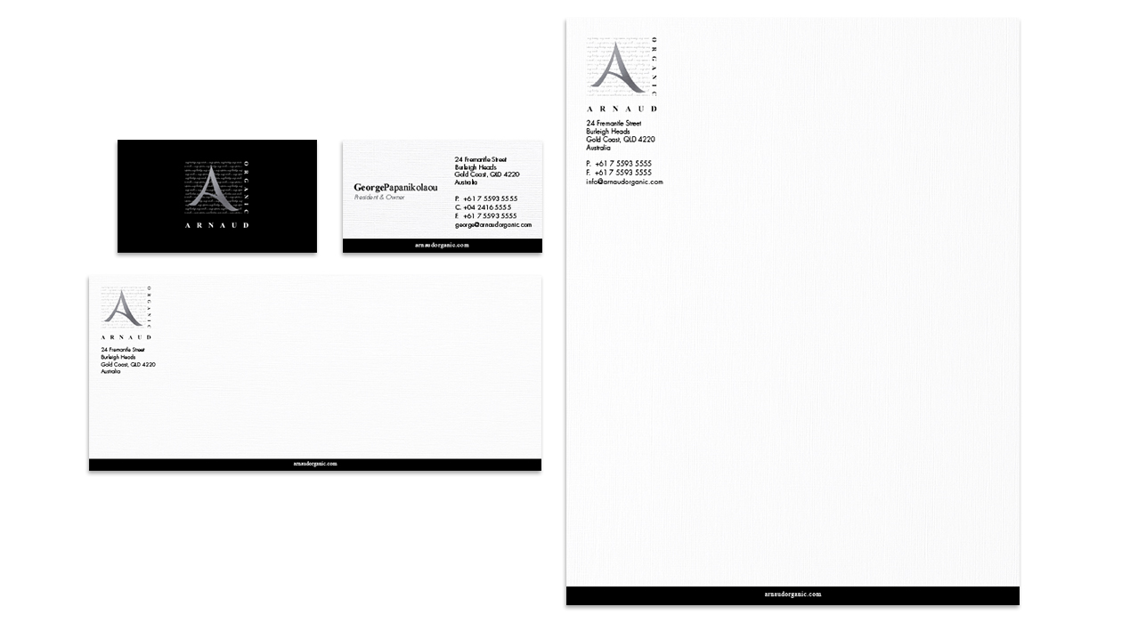 Arnaud Organic Collateral - Business Cards, Envelope & Letterhead