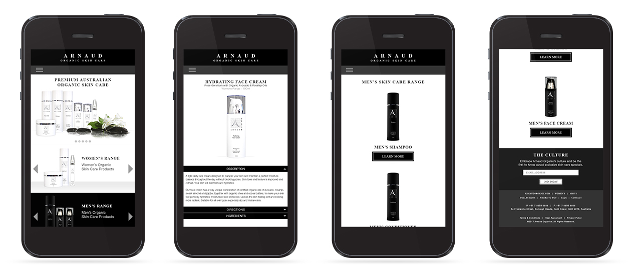 Arnaud Organic - Mobile Website Home, Product & Range Page Design