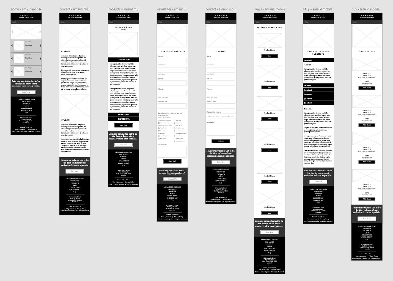 Arnaud Organic - Mobile Website Wireframe Design