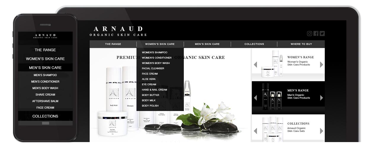Arnaud Organic - Website Navigation Design