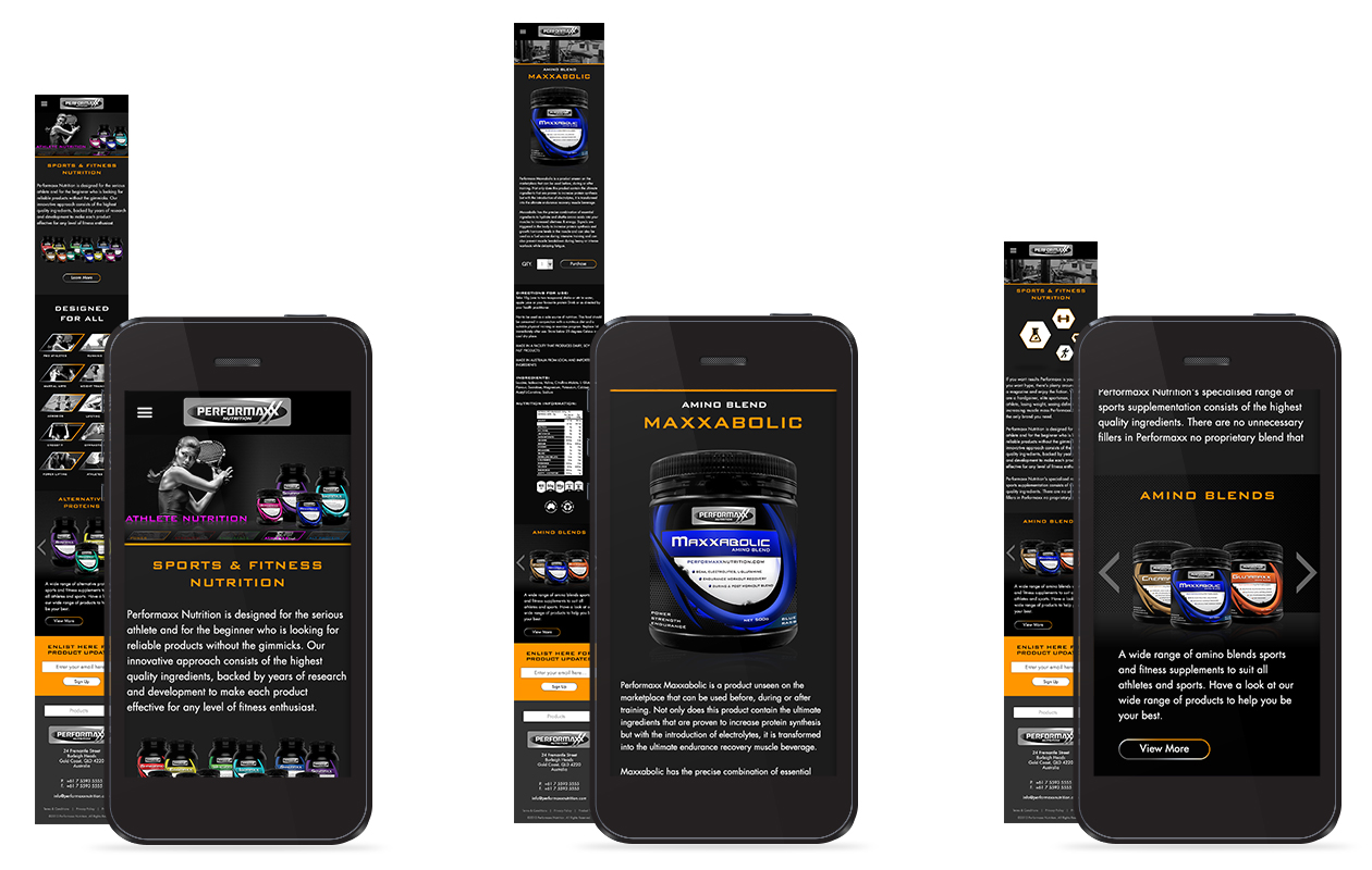Performaxx Nutrition Mobile Website Design
