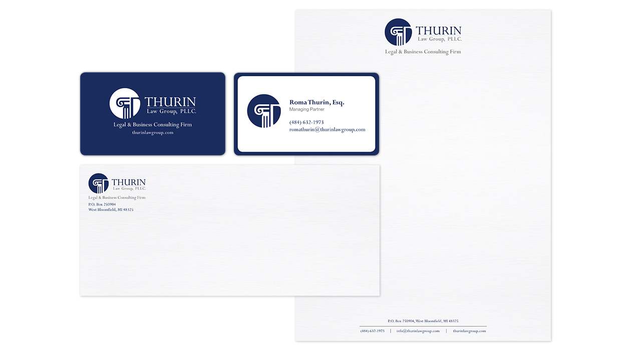 Thurin Law Group, PLLC. - Business Cards, Letterhead & Envelope