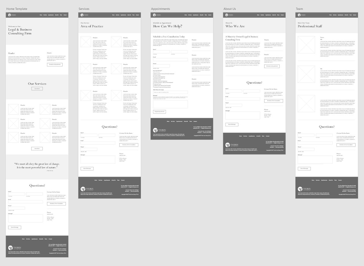 Thurin Law Group, PLLC. - Large Website Wireframe